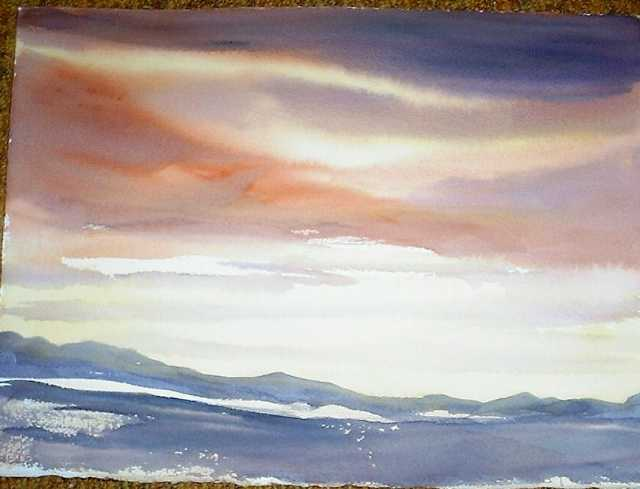 Mrs. Gillick's Sky wash the first DEMO..done in Burnt Sienna, Raw sienna,Indigo and cad or<img SRC=